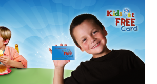 Receive a FREE Kids Eat Free Card for every Child 3-9yrs