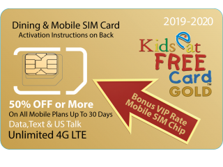 Orlando Kids Eat Free Card GOLD