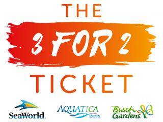 The 3 for 2 Ticket - SeaWorld, Aquatica and Busch Gardens