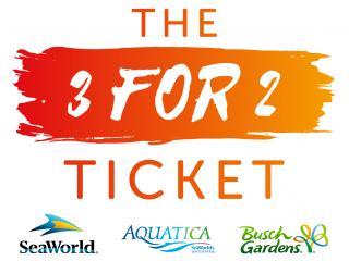 The 3 for 2 Ticket - SeaWorld, Aquatica and Busch Gardens