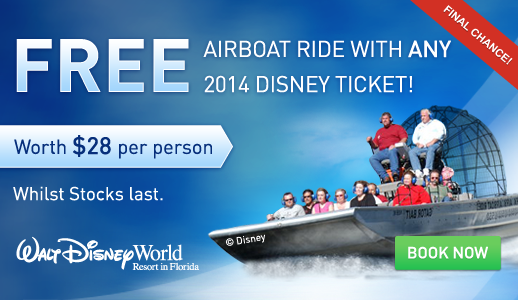 FREE Orlando Airboat Ride with all Disney Florida Tickets