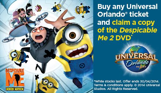 FREE Despicable Me 2 DVD with every Universal Orlando® Resort booking