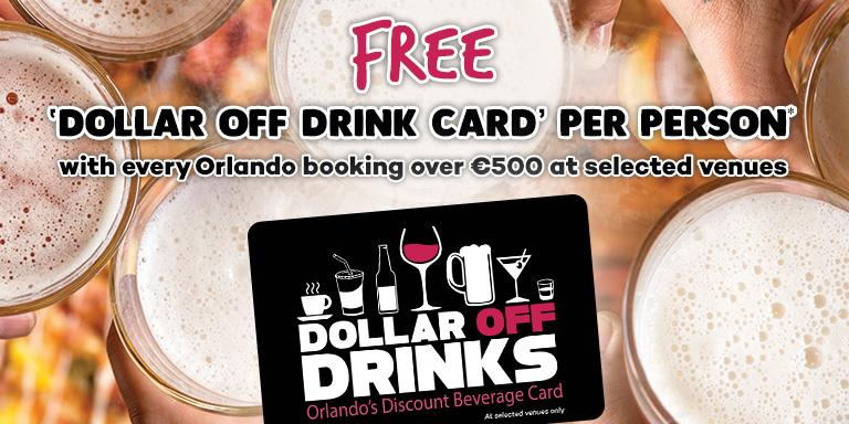Free Dollar Off Drinks Cards with Every Orlando Booking